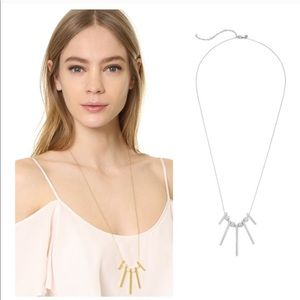 Rebecca Minkoff Long Bead Bar Silver NecklacE NWT